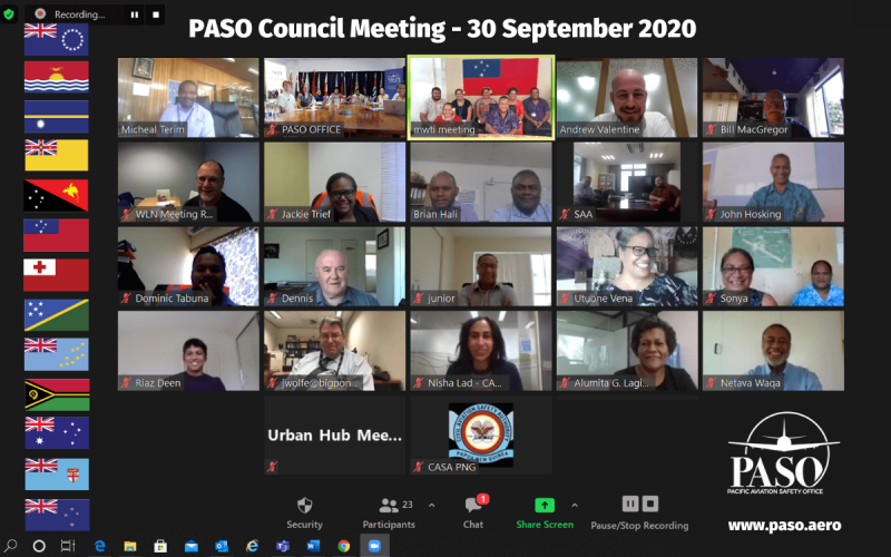 The September 2020 PASO Council Meeting discussed regional solutions for Pacific aviation security resilience and operations. Credit: paso.aero