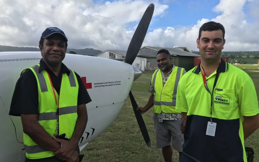 Aviation safety sector working together: Civil Aviation Authority of Vanuatu's Airworthiness Officer, Manfred Veremaito with Pacific Aviation Safety Office's Operations Advisor, Joseph Niel Noupat and Air Taxi Vanuatu's Chief Engineer, Nick Barber at Port Vila Airport, Vanuatu. Credit: PASO.