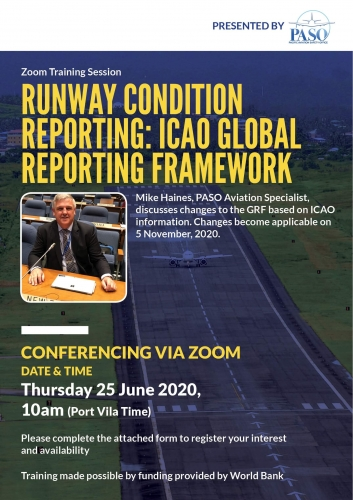 PASO Runway Condition Reporting Training - ICAO Global Reporting Framework. Credit: paso.aero