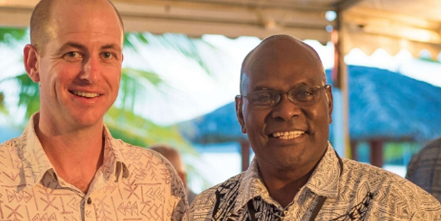 PASO General Manager, Mr. Andrew Valentine with retiring PASO Chair, Mr. Wilson Sagati, OBE. Credit: paso.aero