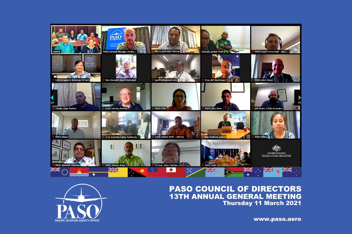 The Pacific Aviation Safety Office will focus on Pacific regional cooperation and operational stability in 2021 agreed the PASO Council at their March AGM. Credit. PASO.aero
