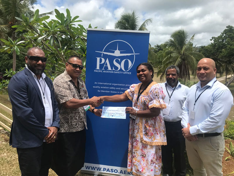 December 2019 Mr. Magele Hoe J. Viali (Samoa), Deputy Chairman of the PASO Council, handing over the early repayment of AU$400k cheque to Senior ADB Country Coordinator, Ms. Nancy Wells, with PASO Council Members Harrison Luen (Vanuatu), Mr. Michael Terim (Papua New Guinea), and Mr. Mitateti Mote (Kiribati).